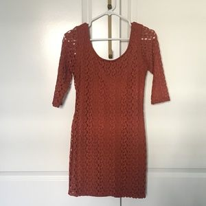 Forever 21 Crochet Overlay Dress - Burnt Orange